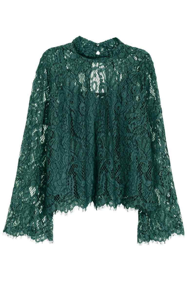 Lace Blouse - pattern: plain; neckline: high neck; style: blouse; predominant colour: dark green; occasions: evening; length: standard; fibres: polyester/polyamide - mix; fit: body skimming; sleeve length: long sleeve; sleeve style: standard; texture group: lace; pattern type: fabric; season: s/s 2016; wardrobe: event
