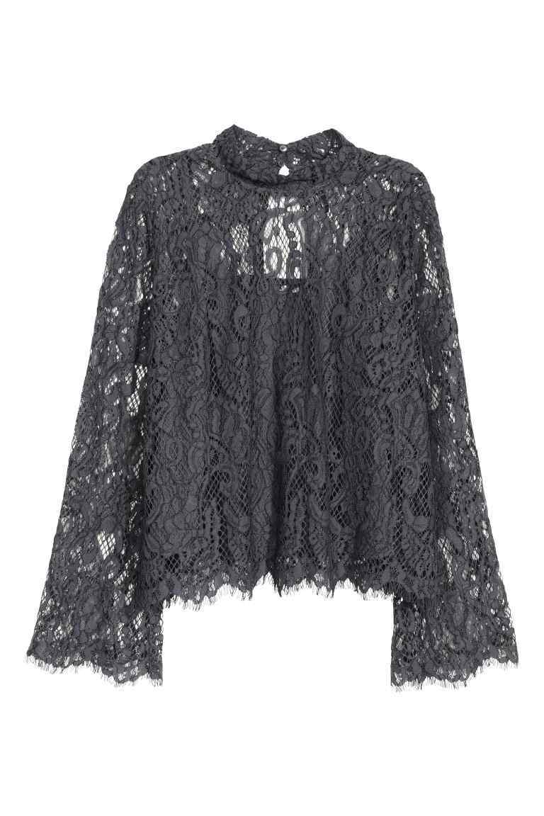 Lace Blouse - pattern: plain; neckline: high neck; style: blouse; predominant colour: silver; occasions: evening; length: standard; fibres: polyester/polyamide - mix; fit: body skimming; sleeve length: long sleeve; sleeve style: standard; texture group: lace; pattern type: fabric; pattern size: standard; season: s/s 2016; wardrobe: event