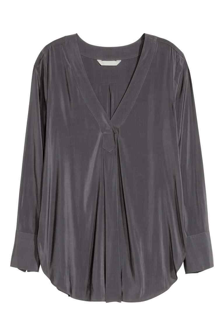 V Neck Blouse - neckline: v-neck; pattern: plain; style: blouse; predominant colour: charcoal; occasions: casual; length: standard; fibres: polyester/polyamide - 100%; fit: body skimming; sleeve length: long sleeve; sleeve style: standard; pattern type: fabric; texture group: other - light to midweight; season: s/s 2016; wardrobe: basic