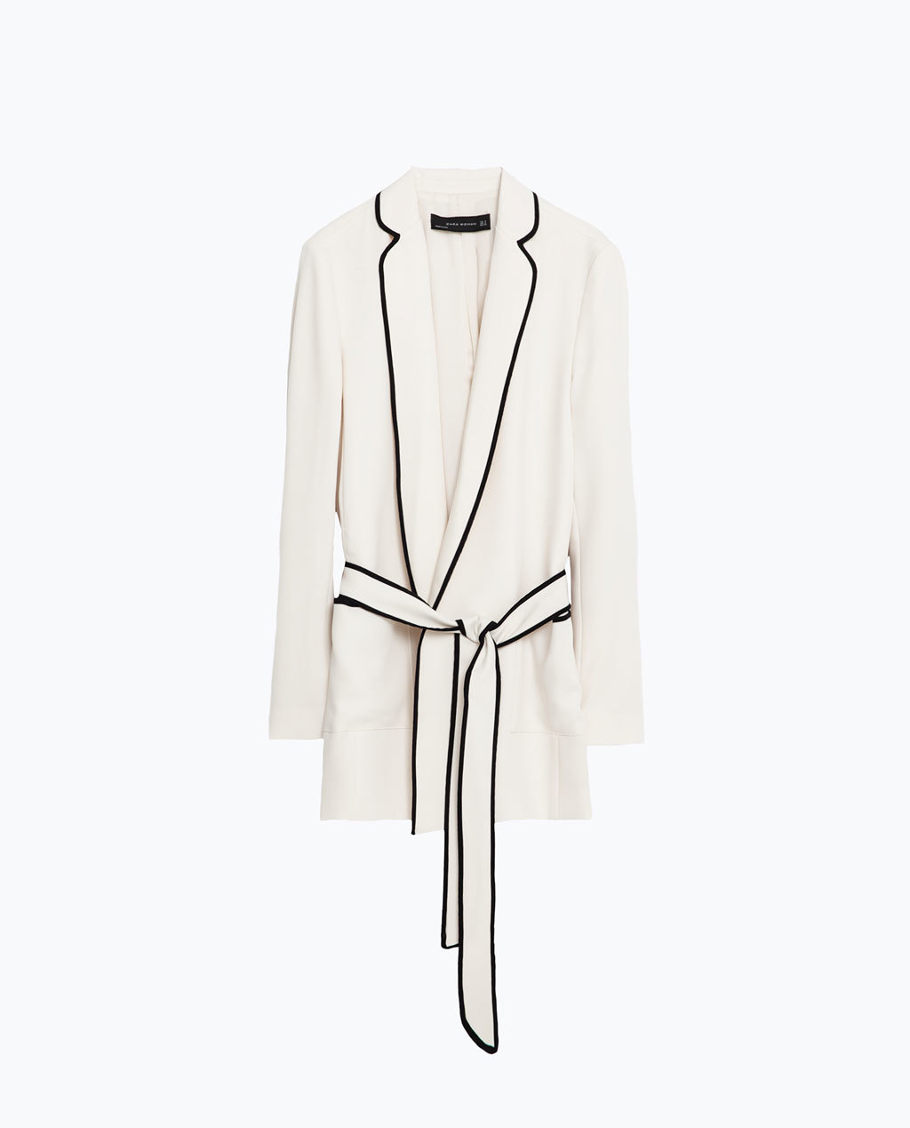 Belted Blazer - style: single breasted blazer; length: below the bottom; collar: standard lapel/rever collar; predominant colour: ivory/cream; secondary colour: black; occasions: casual, creative work; fit: tailored/fitted; fibres: polyester/polyamide - 100%; waist detail: belted waist/tie at waist/drawstring; sleeve length: long sleeve; sleeve style: standard; texture group: crepes; collar break: low/open; pattern type: fabric; pattern size: standard; pattern: colourblock; season: s/s 2016; wardrobe: highlight