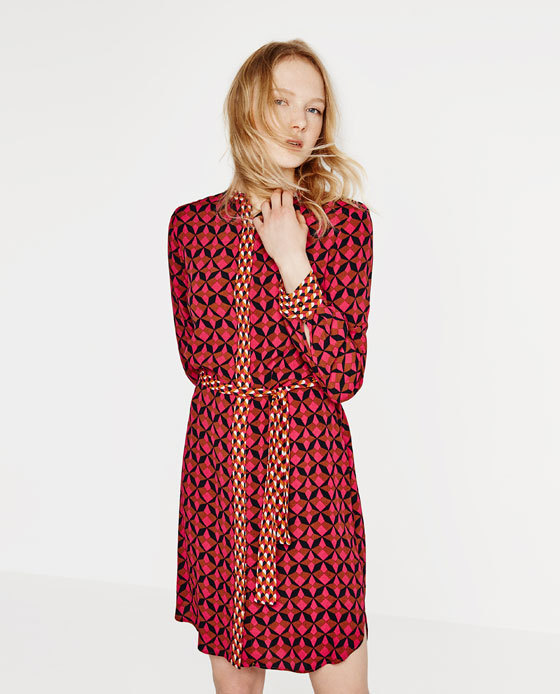 Contrast Print Tunic - style: shirt; neckline: shirt collar/peter pan/zip with opening; waist detail: belted waist/tie at waist/drawstring; predominant colour: true red; secondary colour: black; occasions: casual; length: just above the knee; fit: body skimming; fibres: viscose/rayon - 100%; sleeve length: long sleeve; sleeve style: standard; pattern type: fabric; pattern: patterned/print; texture group: woven light midweight; multicoloured: multicoloured; season: s/s 2016
