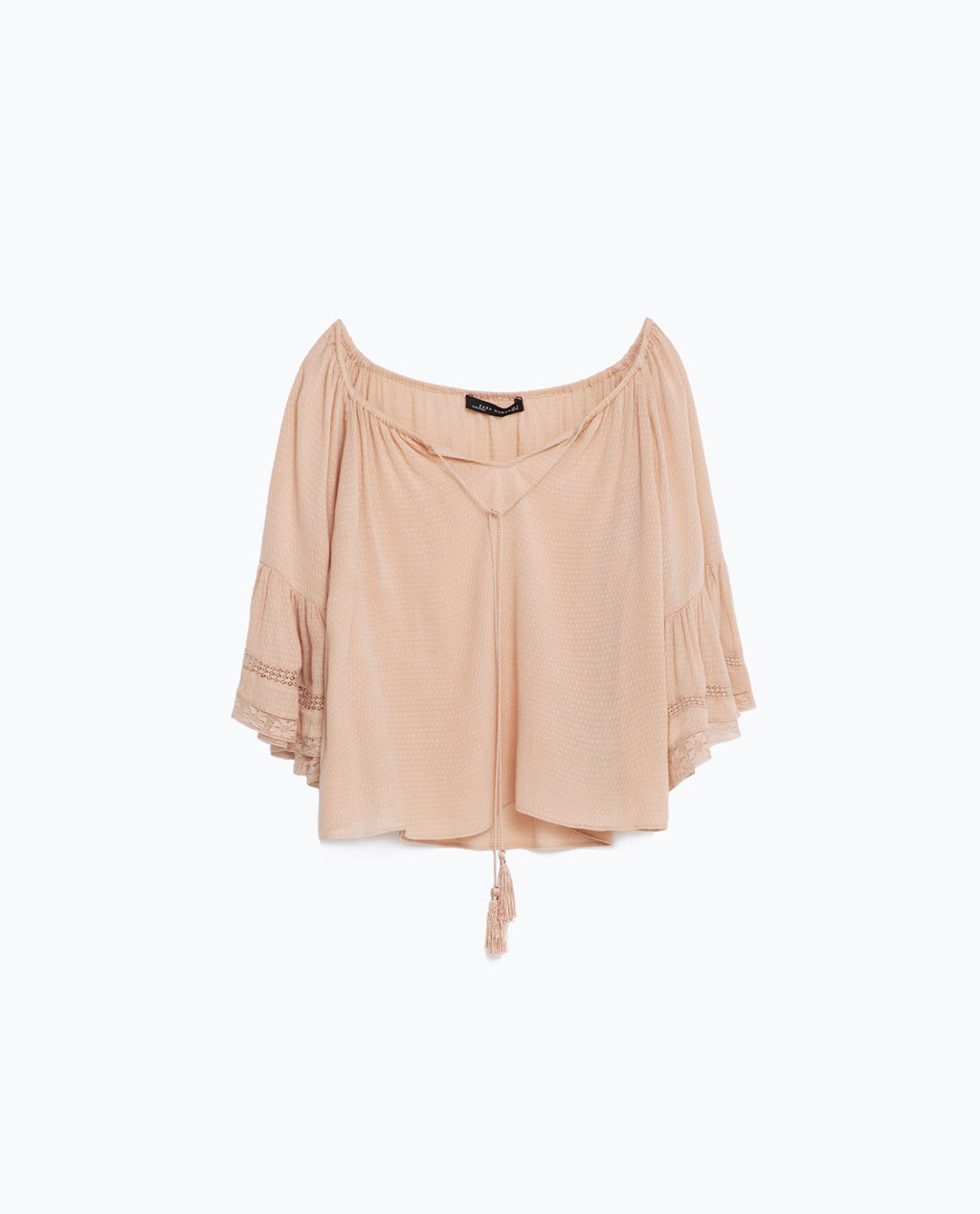 Blouse With Gathered Neckline - sleeve style: bell sleeve; pattern: plain; style: blouse; predominant colour: nude; occasions: casual; length: standard; neckline: scoop; fit: loose; sleeve length: 3/4 length; texture group: rubber/latex; pattern type: fabric; fibres: viscose/rayon - mix; season: s/s 2016; wardrobe: basic