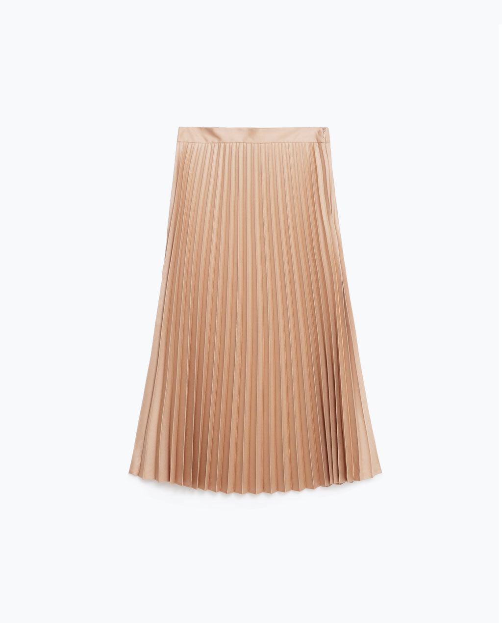 Pleated Midi Skirt - length: below the knee; pattern: plain; fit: loose/voluminous; style: pleated; waist: high rise; predominant colour: nude; fibres: polyester/polyamide - mix; occasions: occasion; pattern type: fabric; texture group: other - light to midweight; season: s/s 2016; wardrobe: event