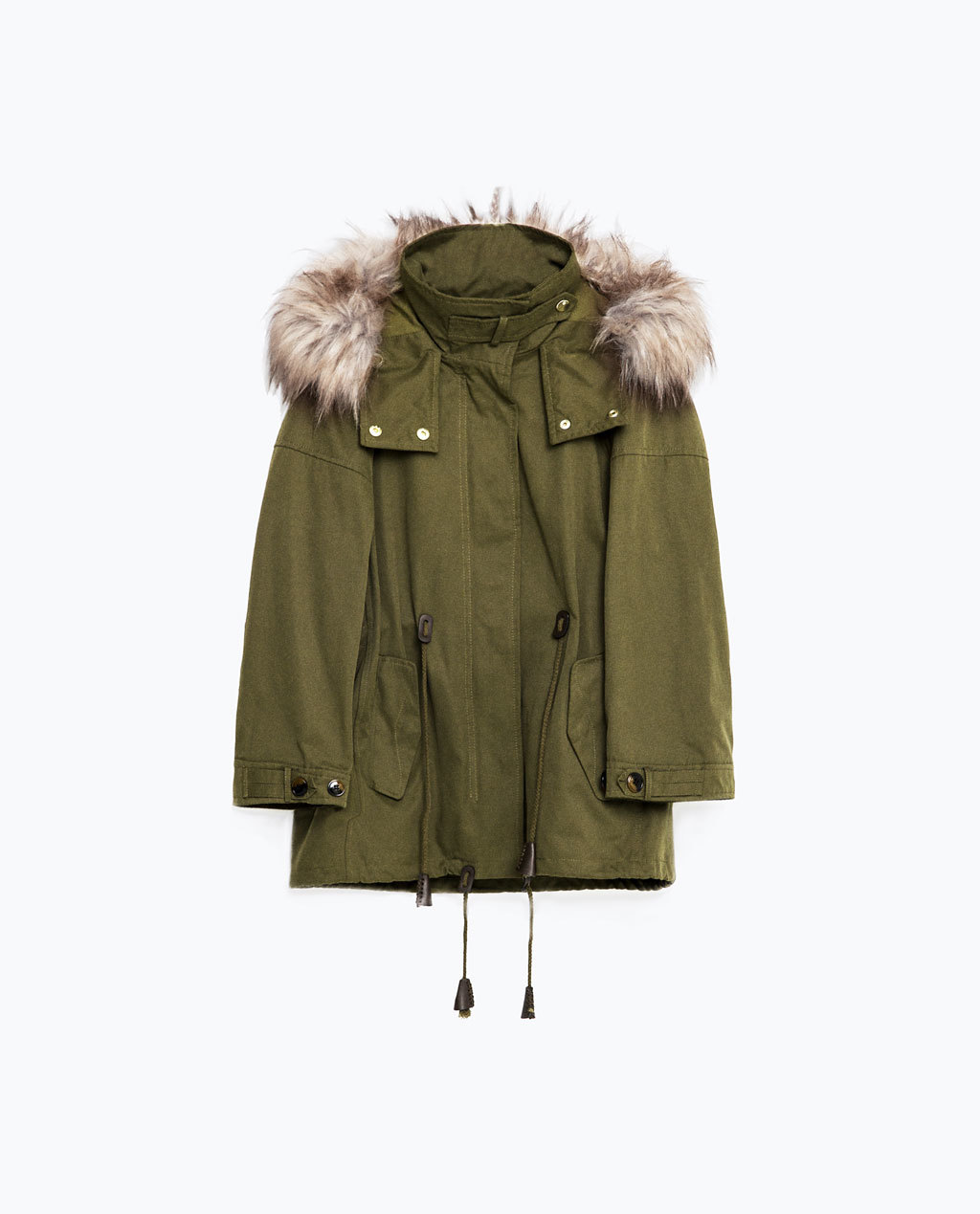 Short Parka - pattern: plain; collar: funnel; fit: loose; style: parka; back detail: hood; length: mid thigh; predominant colour: khaki; secondary colour: stone; occasions: casual; fibres: cotton - 100%; hip detail: added detail/embellishment at hip; sleeve length: long sleeve; sleeve style: standard; texture group: cotton feel fabrics; collar break: high; pattern type: fabric; embellishment: fur; season: s/s 2016