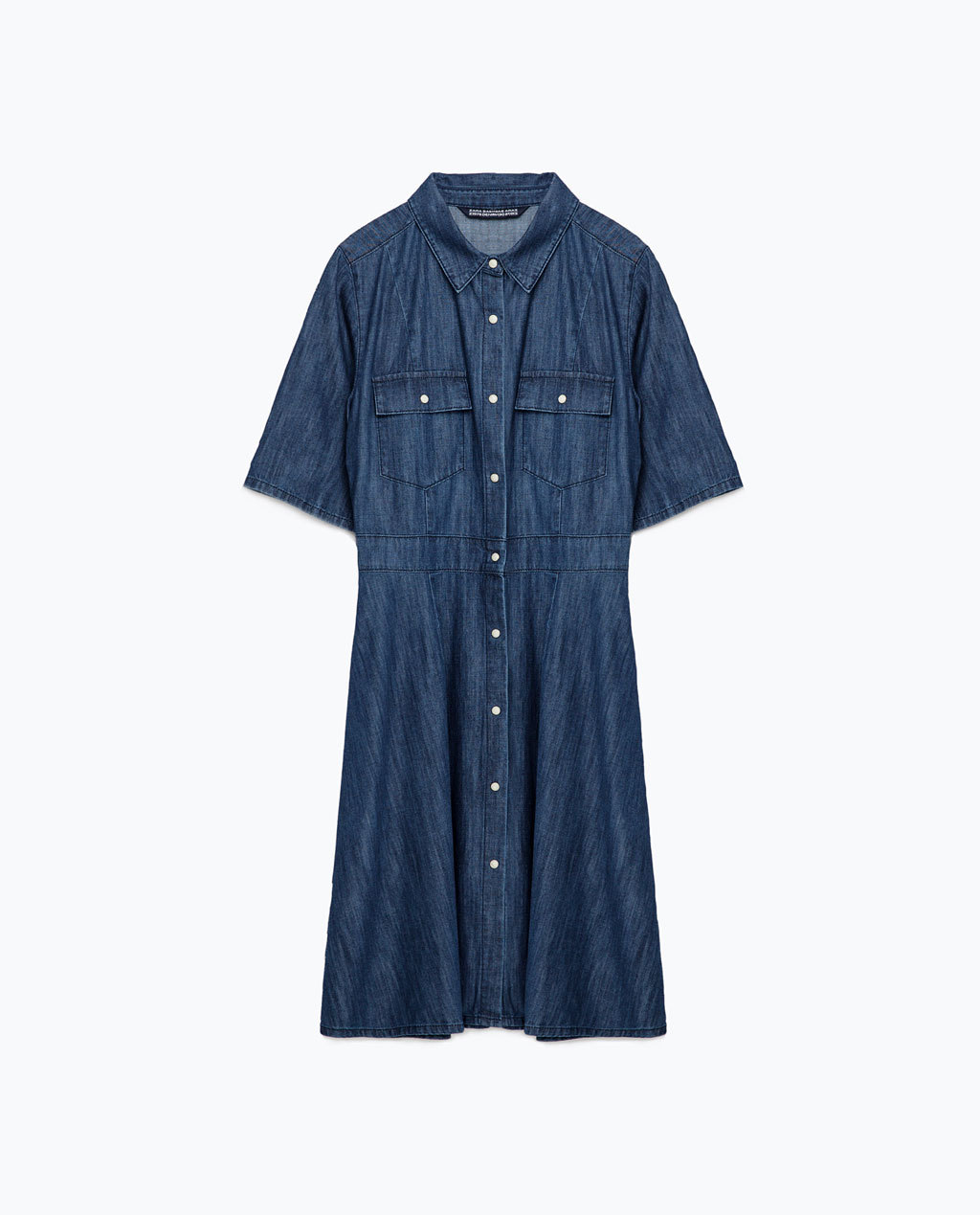 Denim Dress - style: shirt; neckline: shirt collar/peter pan/zip with opening; pattern: plain; predominant colour: navy; occasions: casual; length: just above the knee; fit: soft a-line; fibres: cotton - 100%; sleeve length: half sleeve; sleeve style: standard; texture group: denim; pattern type: fabric; season: s/s 2016; wardrobe: basic