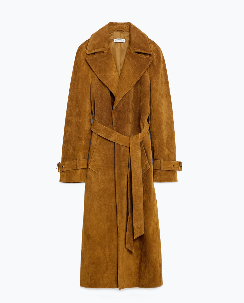 Leather Trench Coat - pattern: plain; style: trench coat; collar: standard lapel/rever collar; predominant colour: tan; occasions: work, creative work; fit: tailored/fitted; fibres: leather - 100%; length: below the knee; waist detail: belted waist/tie at waist/drawstring; sleeve length: long sleeve; sleeve style: standard; collar break: medium; pattern type: fabric; texture group: suede; season: s/s 2016; wardrobe: highlight