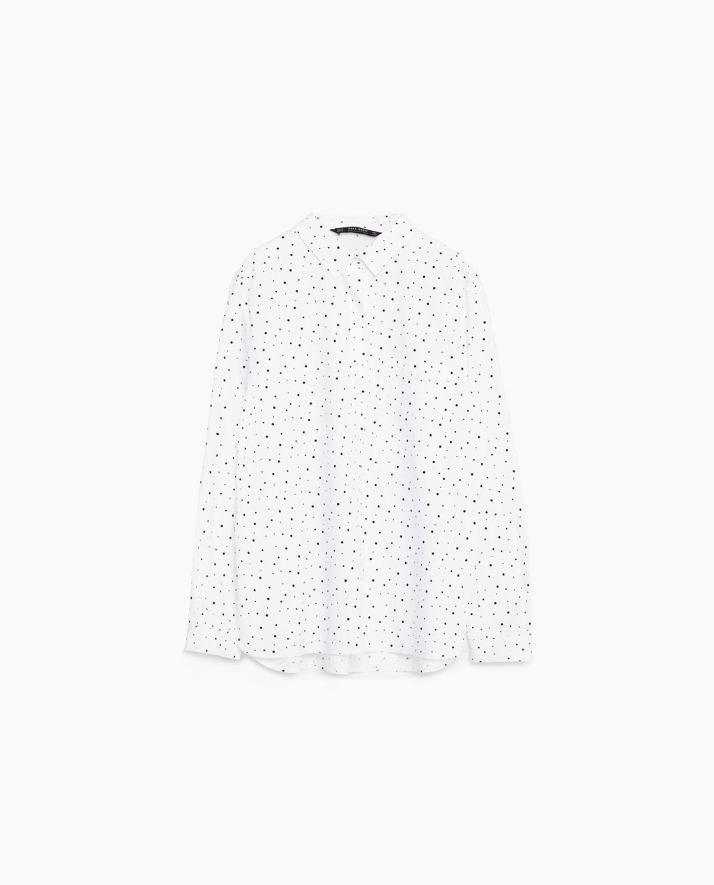 Oversized Shirt - neckline: shirt collar/peter pan/zip with opening; style: shirt; pattern: polka dot; predominant colour: white; secondary colour: mid grey; occasions: casual; length: standard; fibres: cotton - stretch; fit: loose; sleeve length: long sleeve; sleeve style: standard; texture group: cotton feel fabrics; pattern type: fabric; pattern size: standard; multicoloured: multicoloured; season: s/s 2016; wardrobe: highlight