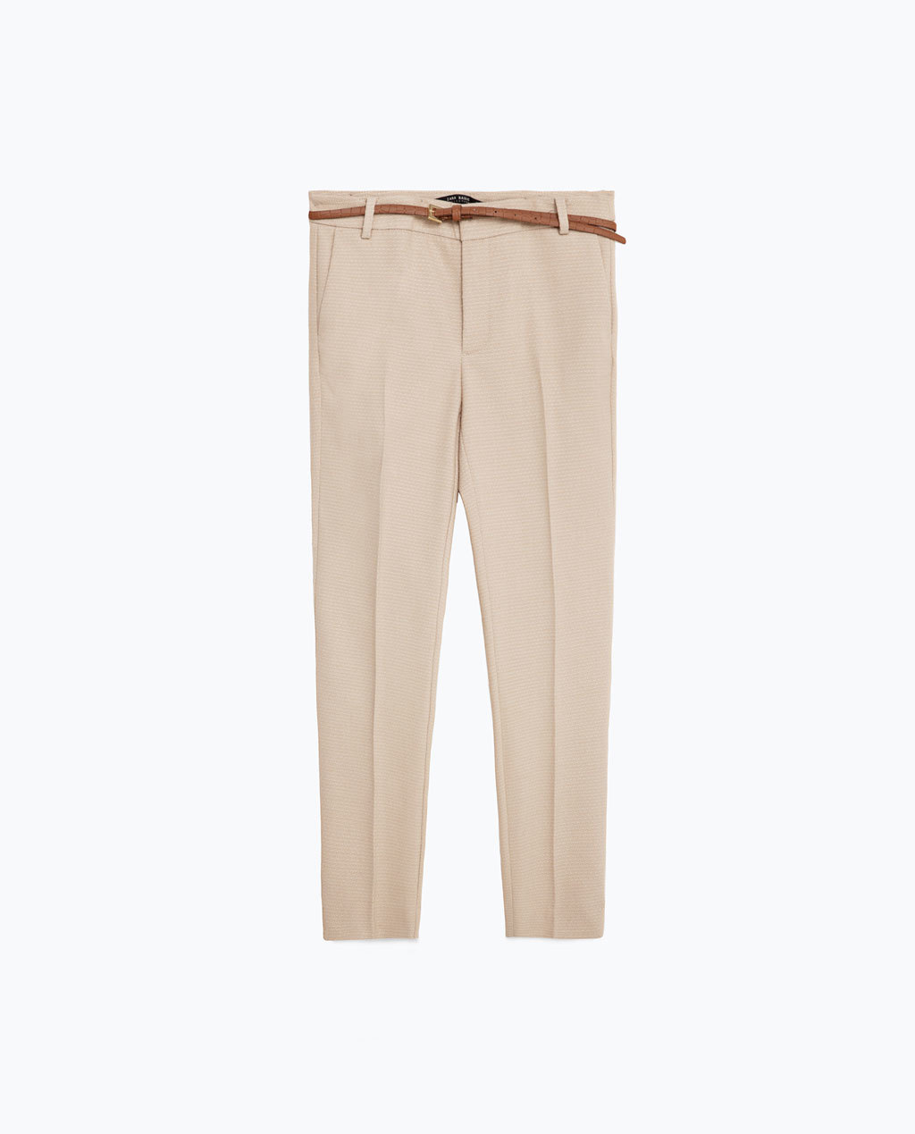 Chinos - pattern: plain; waist: mid/regular rise; predominant colour: stone; occasions: casual, creative work; length: ankle length; style: chino; fibres: cotton - 100%; texture group: cotton feel fabrics; fit: slim leg; pattern type: fabric; season: s/s 2016; wardrobe: basic