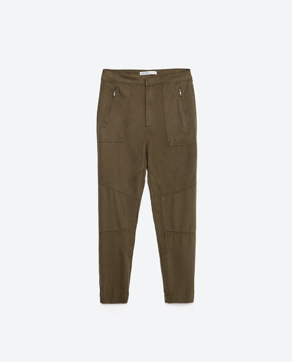 Cargo Trousers - length: standard; pattern: plain; waist: high rise; style: cargo; predominant colour: khaki; occasions: casual; fibres: cotton - stretch; texture group: cotton feel fabrics; fit: slim leg; pattern type: fabric; season: s/s 2016; wardrobe: basic