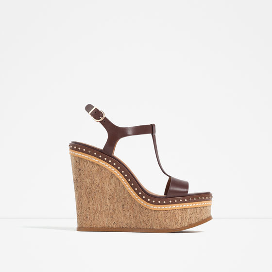 Micro Studded Leather Wedges - predominant colour: chocolate brown; occasions: casual; material: leather; heel height: high; embellishment: studs; heel: wedge; toe: open toe/peeptoe; style: strappy; finish: plain; pattern: plain; season: s/s 2016