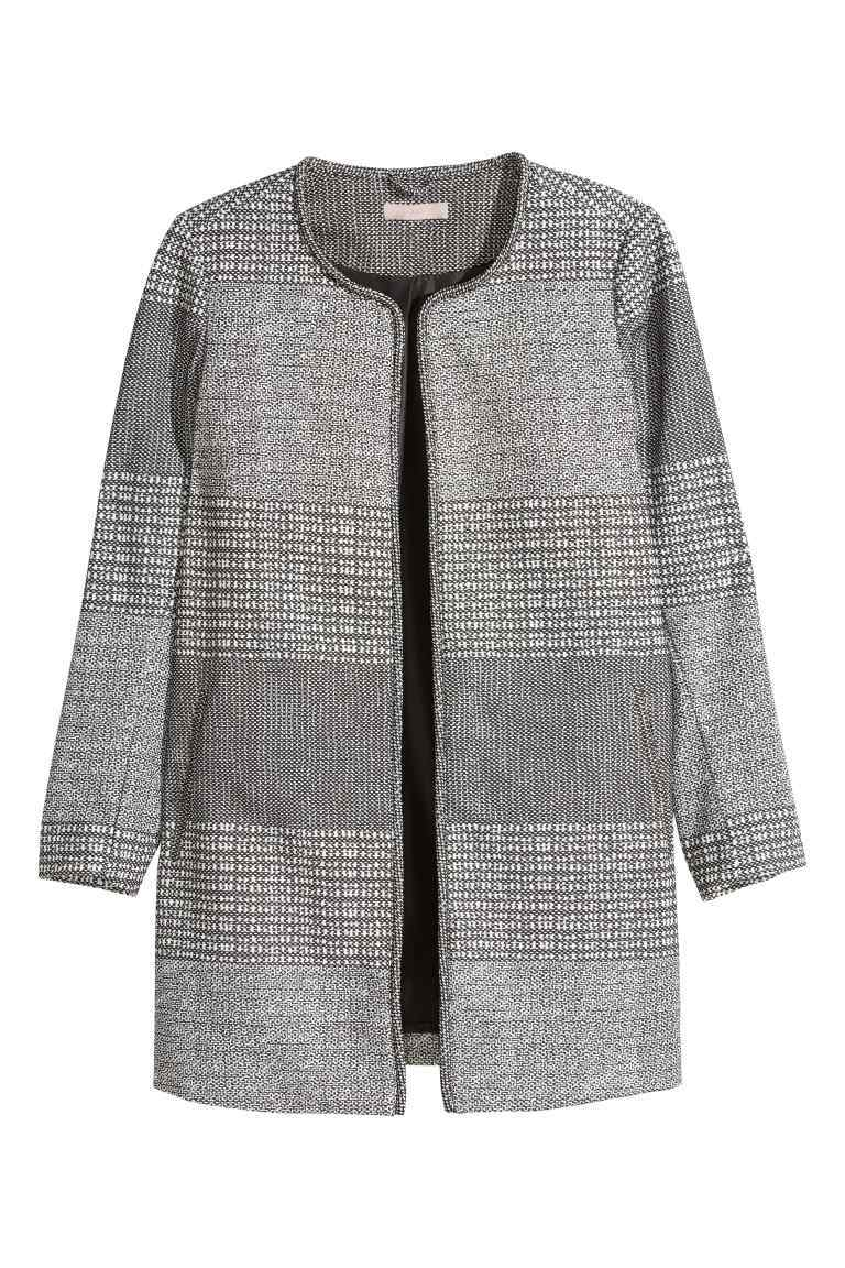+ Textured Coat - collar: round collar/collarless; style: single breasted; pattern: herringbone/tweed; length: mid thigh; secondary colour: charcoal; predominant colour: mid grey; occasions: casual, creative work; fit: straight cut (boxy); fibres: polyester/polyamide - mix; sleeve length: 3/4 length; sleeve style: standard; collar break: low/open; pattern type: fabric; pattern size: standard; texture group: tweed - bulky/heavy; season: s/s 2016; wardrobe: basic