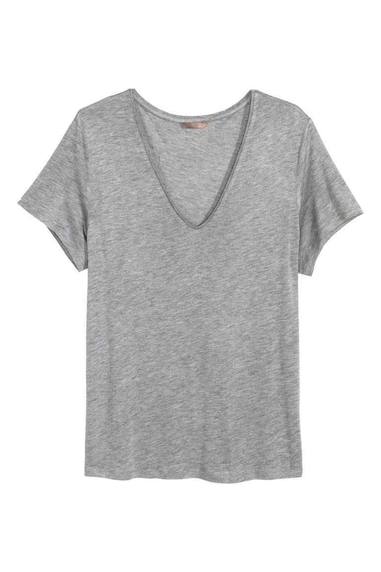 + V Neck Jersey Top - neckline: v-neck; pattern: plain; style: t-shirt; predominant colour: mid grey; occasions: casual; length: standard; fibres: viscose/rayon - 100%; fit: body skimming; sleeve length: short sleeve; sleeve style: standard; pattern type: fabric; texture group: jersey - stretchy/drapey; season: s/s 2016; wardrobe: basic