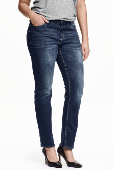 + Straight Regular Jeans - style: straight leg; length: standard; pattern: plain; waist: mid/regular rise; predominant colour: denim; occasions: casual, creative work; fibres: cotton - stretch; jeans detail: dark wash; texture group: denim; pattern type: fabric; season: s/s 2016; wardrobe: basic