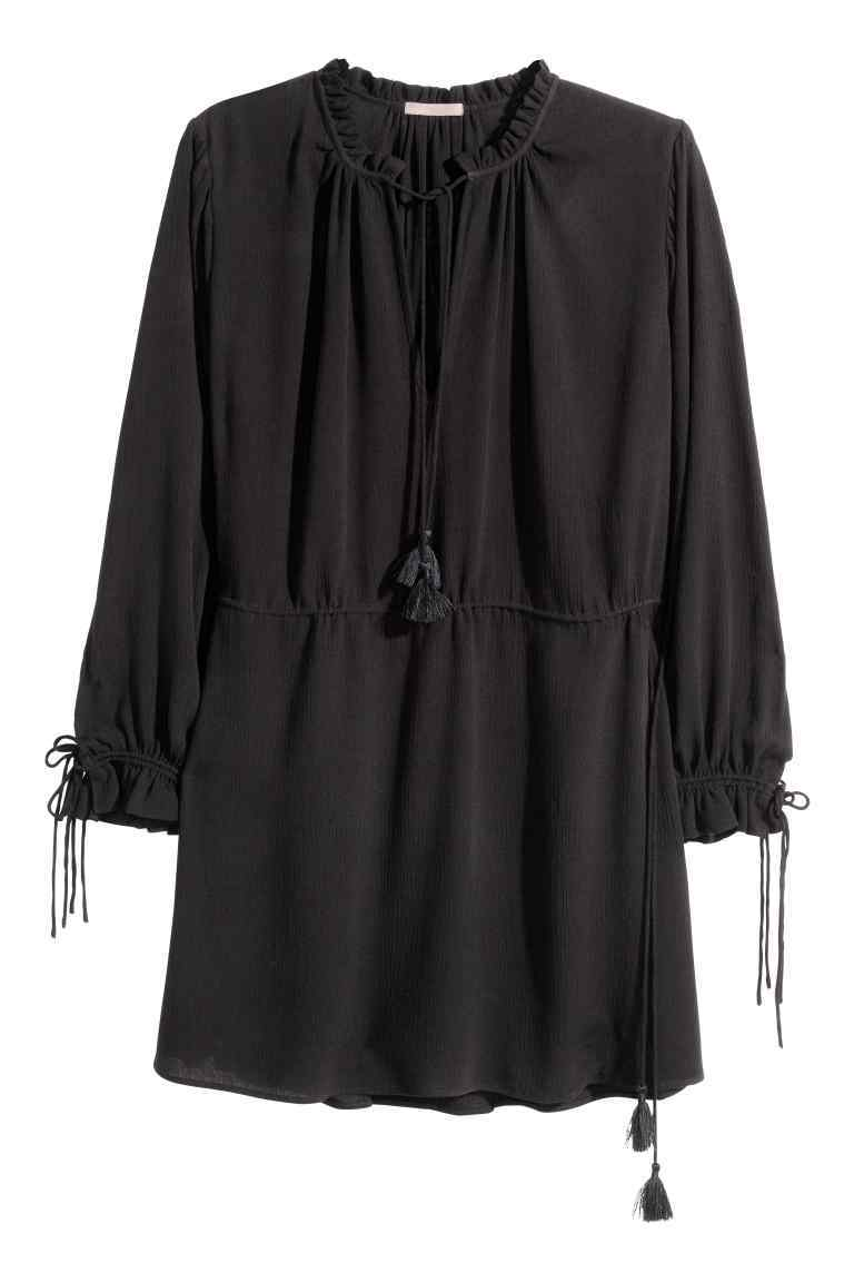 + Crinkled Tunic - neckline: v-neck; pattern: plain; length: below the bottom; style: tunic; predominant colour: black; occasions: casual; fibres: viscose/rayon - 100%; fit: body skimming; sleeve length: long sleeve; sleeve style: standard; texture group: crepes; pattern type: fabric; season: s/s 2016