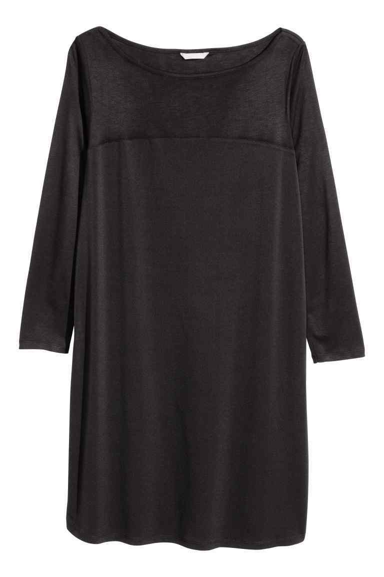 + Jersey Tunic - style: shift; neckline: round neck; pattern: plain; predominant colour: black; occasions: casual; length: just above the knee; fit: body skimming; fibres: viscose/rayon - 100%; sleeve length: long sleeve; sleeve style: standard; pattern type: fabric; texture group: jersey - stretchy/drapey; season: s/s 2016; wardrobe: basic