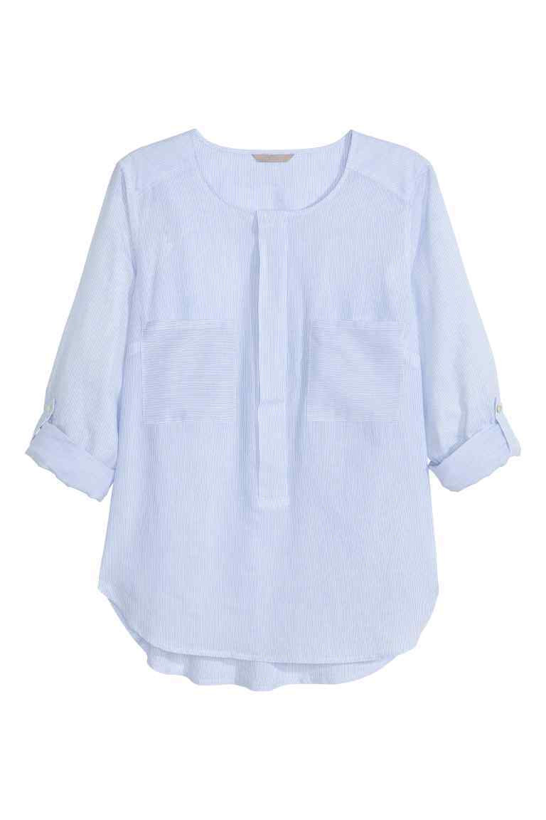 + Cotton Blouse - neckline: round neck; pattern: plain; style: blouse; predominant colour: pale blue; occasions: casual; length: standard; fibres: cotton - 100%; fit: body skimming; sleeve length: 3/4 length; sleeve style: standard; texture group: cotton feel fabrics; pattern type: fabric; season: s/s 2016