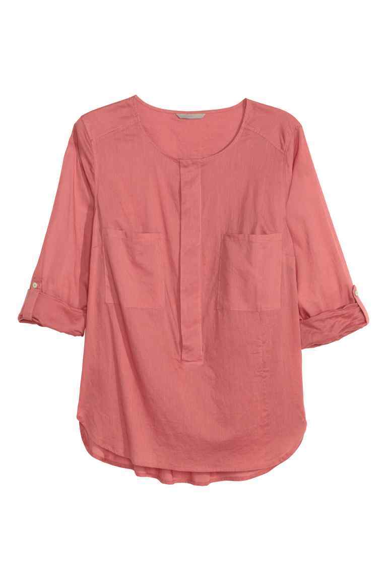 + Cotton Blouse - neckline: round neck; pattern: plain; style: blouse; bust detail: subtle bust detail; predominant colour: pink; occasions: casual, creative work; length: standard; fibres: cotton - 100%; fit: body skimming; sleeve length: 3/4 length; sleeve style: standard; texture group: cotton feel fabrics; pattern type: fabric; season: s/s 2016; wardrobe: highlight