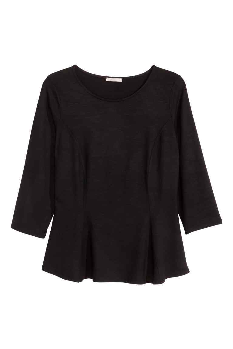 + Peplum Top - neckline: round neck; pattern: plain; waist detail: peplum waist detail; predominant colour: black; length: standard; style: top; fibres: polyester/polyamide - 100%; fit: tailored/fitted; sleeve length: 3/4 length; sleeve style: standard; pattern type: fabric; texture group: other - light to midweight; occasions: creative work; season: s/s 2016; wardrobe: basic