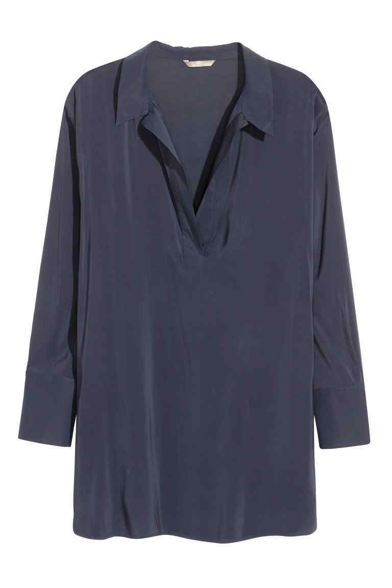 + V Neck Blouse - neckline: shirt collar/peter pan/zip with opening; pattern: plain; length: below the bottom; style: tunic; predominant colour: navy; occasions: casual, creative work; fibres: polyester/polyamide - 100%; fit: body skimming; sleeve length: long sleeve; sleeve style: standard; pattern type: fabric; texture group: other - light to midweight; season: s/s 2016