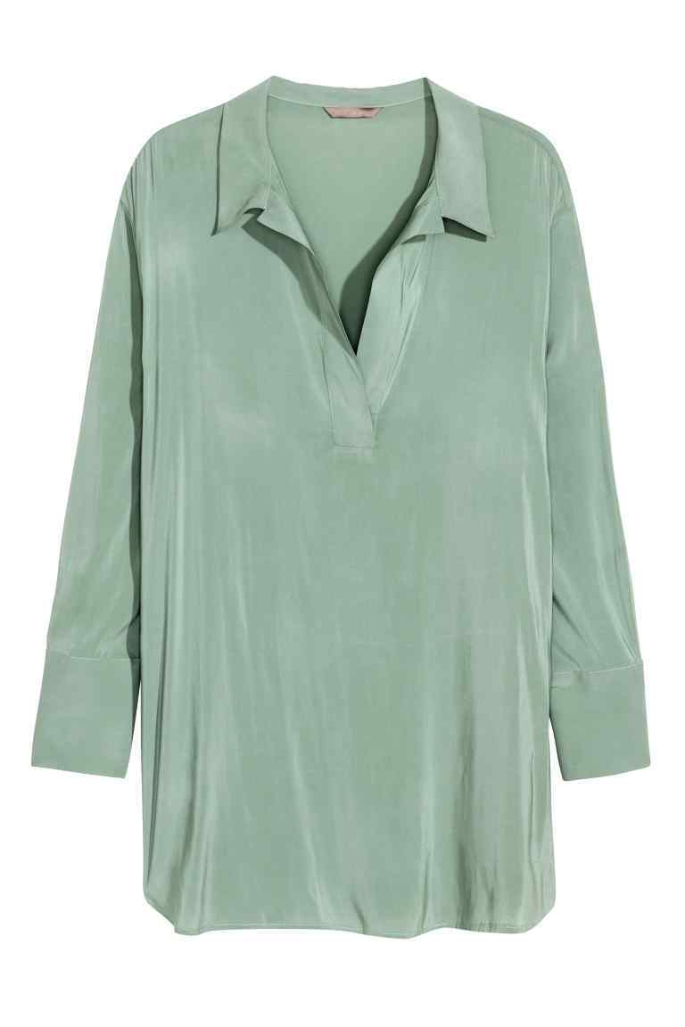 + V Neck Blouse - neckline: shirt collar/peter pan/zip with opening; pattern: plain; length: below the bottom; style: tunic; predominant colour: pistachio; occasions: casual, creative work; fibres: polyester/polyamide - 100%; fit: body skimming; sleeve length: long sleeve; sleeve style: standard; pattern type: fabric; texture group: other - light to midweight; season: s/s 2016; wardrobe: highlight
