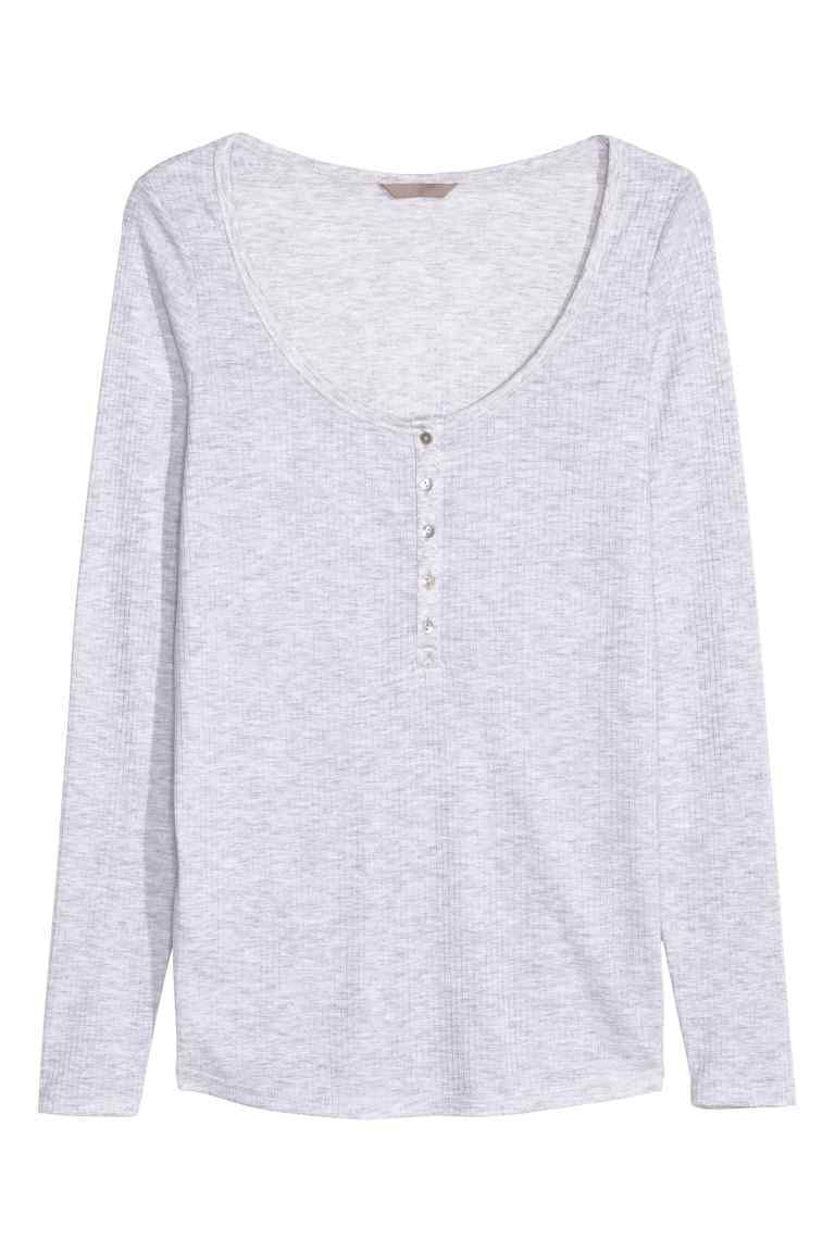 + Henley Shirt - pattern: plain; predominant colour: light grey; occasions: casual; length: standard; style: top; neckline: scoop; fibres: polyester/polyamide - mix; fit: body skimming; sleeve length: long sleeve; sleeve style: standard; pattern type: fabric; texture group: jersey - stretchy/drapey; season: s/s 2016; wardrobe: basic