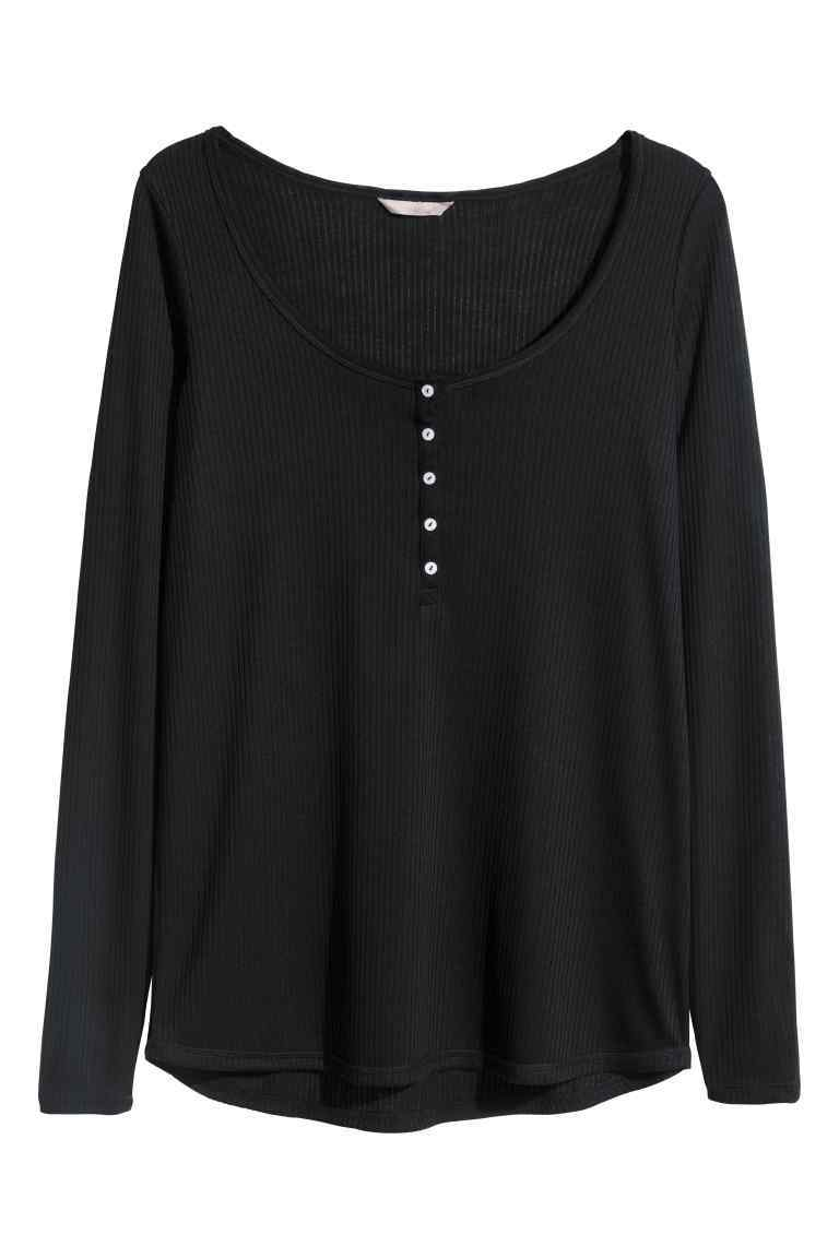 + Henley Shirt - pattern: plain; style: t-shirt; predominant colour: black; occasions: casual; length: standard; neckline: scoop; fibres: polyester/polyamide - mix; fit: body skimming; sleeve length: long sleeve; sleeve style: standard; pattern type: fabric; texture group: jersey - stretchy/drapey; season: s/s 2016; wardrobe: basic