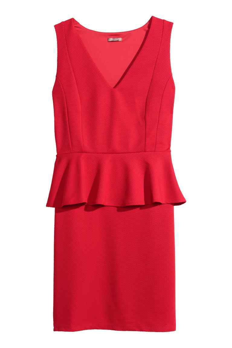 + Peplum Dress - style: shift; length: mid thigh; neckline: low v-neck; fit: tailored/fitted; pattern: plain; sleeve style: sleeveless; waist detail: peplum waist detail; occasions: evening, occasion; fibres: polyester/polyamide - 100%; sleeve length: sleeveless; texture group: crepes; pattern type: fabric; predominant colour: raspberry; season: s/s 2016; wardrobe: event