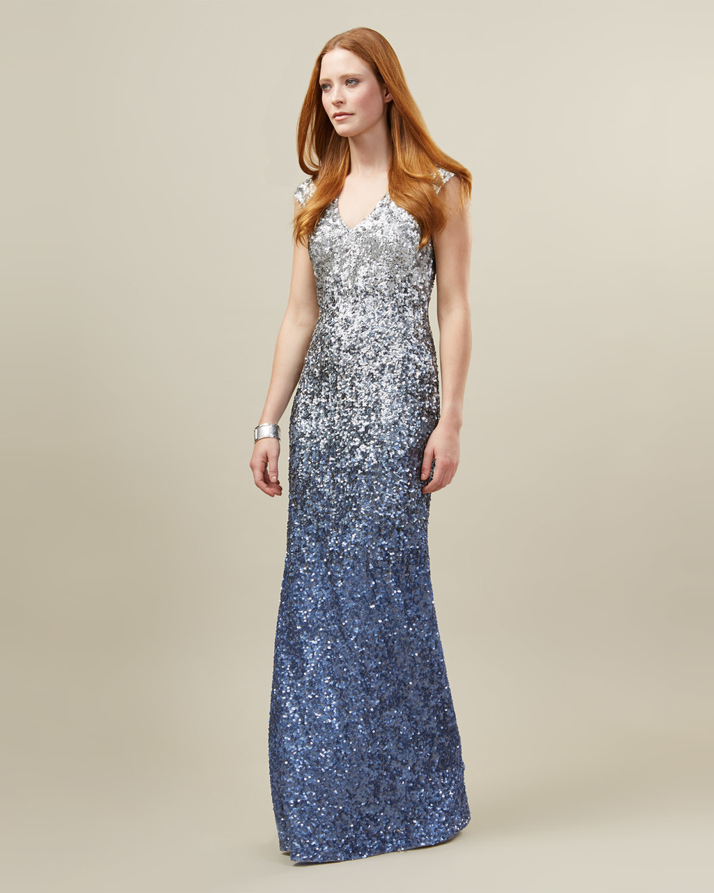 Charlie Sequinned Dress - style: ballgown; neckline: plunge; pattern: plain; sleeve style: sleeveless; secondary colour: diva blue; predominant colour: pale blue; occasions: evening, occasion; length: floor length; fit: body skimming; fibres: polyester/polyamide - 100%; sleeve length: sleeveless; pattern type: fabric; texture group: jersey - stretchy/drapey; embellishment: sequins; multicoloured: multicoloured; season: s/s 2016; wardrobe: event