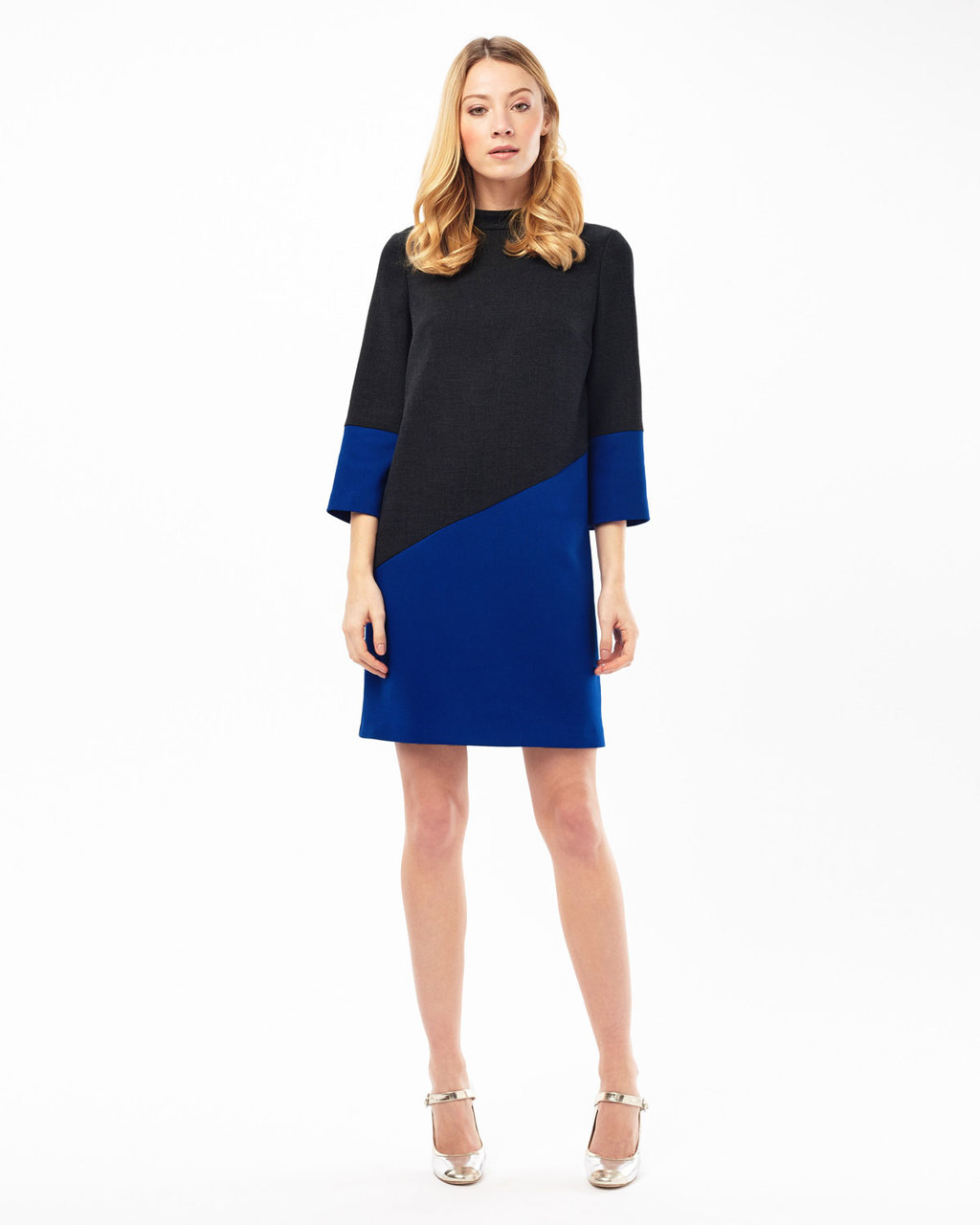 Tina Colourblock Dress - style: shift; length: mid thigh; neckline: high neck; secondary colour: royal blue; predominant colour: black; fit: soft a-line; fibres: polyester/polyamide - stretch; occasions: occasion, creative work; sleeve length: 3/4 length; sleeve style: standard; pattern type: fabric; pattern: colourblock; texture group: other - light to midweight; season: s/s 2016