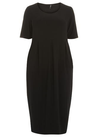 Womens Evans Black Longline Pocket Dress, Black - pattern: plain; style: maxi dress; length: ankle length; predominant colour: black; occasions: casual; fit: body skimming; fibres: cotton - stretch; neckline: crew; sleeve length: short sleeve; sleeve style: standard; pattern type: fabric; texture group: jersey - stretchy/drapey; season: s/s 2016; wardrobe: basic