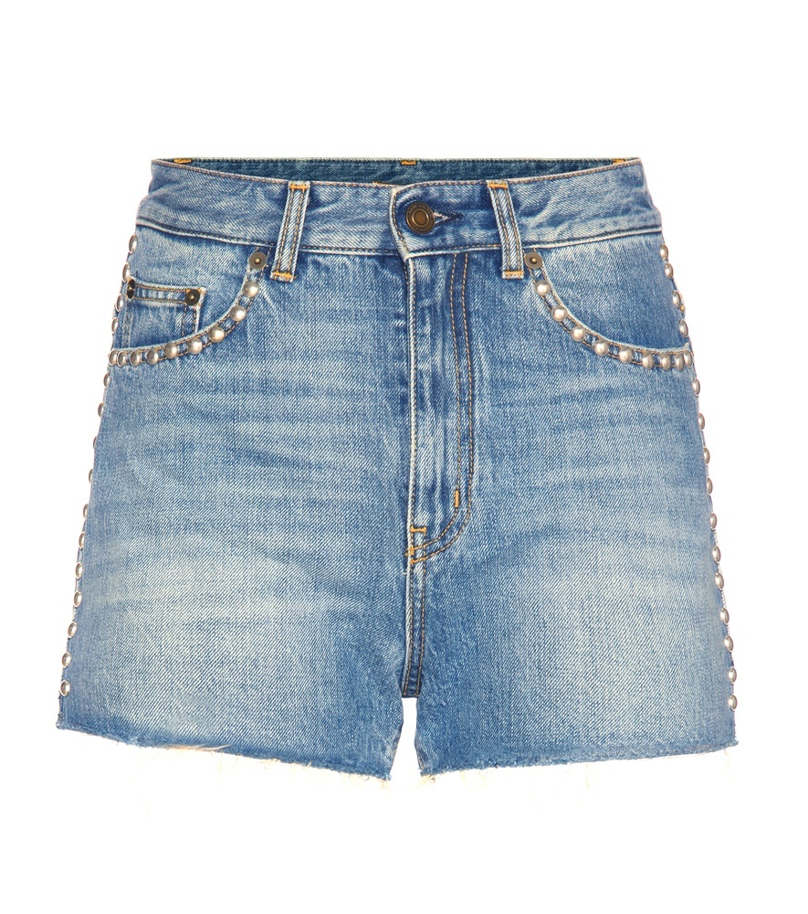 Embellished Denim Shorts - pattern: plain; waist: high rise; predominant colour: denim; occasions: casual, creative work; fibres: cotton - stretch; texture group: denim; pattern type: fabric; season: s/s 2016; style: denim; length: short shorts; fit: slim leg; wardrobe: highlight