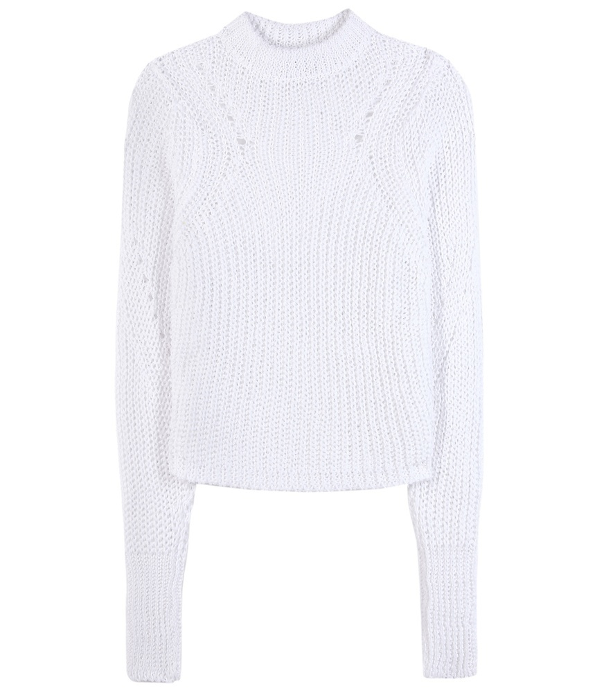 Zutti Linen Blend Sweater - pattern: plain; neckline: high neck; style: standard; predominant colour: white; occasions: casual; length: standard; fibres: linen - mix; fit: slim fit; sleeve length: long sleeve; sleeve style: standard; texture group: knits/crochet; pattern type: fabric; season: s/s 2016; wardrobe: basic