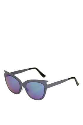 Spike Metal Cateye Sunglasses - secondary colour: diva blue; predominant colour: black; style: cateye; size: large; material: plastic/rubber; pattern: plain; occasions: holiday; finish: plain; season: s/s 2016