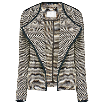 Lara Tweed Jacket, Black - style: single breasted blazer; collar: shawl/waterfall; pattern: herringbone/tweed; secondary colour: ivory/cream; predominant colour: navy; occasions: casual, creative work; length: standard; fit: straight cut (boxy); fibres: cotton - 100%; sleeve length: long sleeve; sleeve style: standard; collar break: low/open; pattern type: fabric; pattern size: light/subtle; texture group: tweed - light/midweight; season: s/s 2016; wardrobe: basic