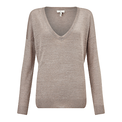 Calee Metallic Jumper, Heather Mushroom - neckline: v-neck; pattern: plain; style: standard; predominant colour: taupe; occasions: casual; length: standard; fit: slim fit; sleeve length: long sleeve; sleeve style: standard; texture group: knits/crochet; pattern type: fabric; fibres: viscose/rayon - mix; season: s/s 2016; wardrobe: basic