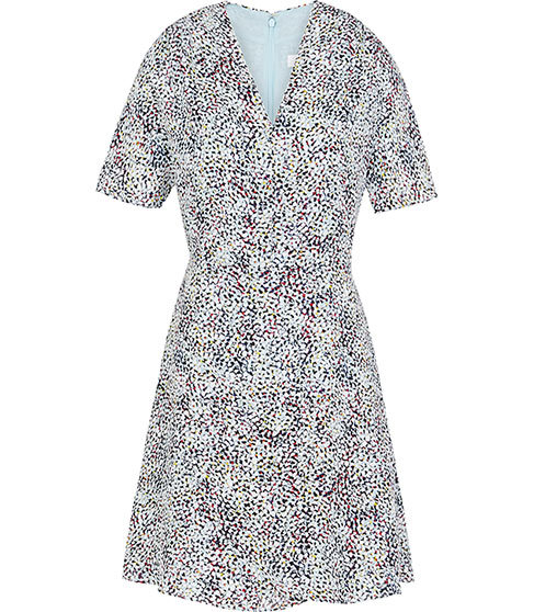 Prose Printed Dress - style: faux wrap/wrap; neckline: v-neck; predominant colour: white; secondary colour: black; occasions: evening; length: just above the knee; fit: body skimming; fibres: silk - 100%; hip detail: soft pleats at hip/draping at hip/flared at hip; sleeve length: short sleeve; sleeve style: standard; pattern type: fabric; pattern: patterned/print; texture group: woven light midweight; multicoloured: multicoloured; season: s/s 2016