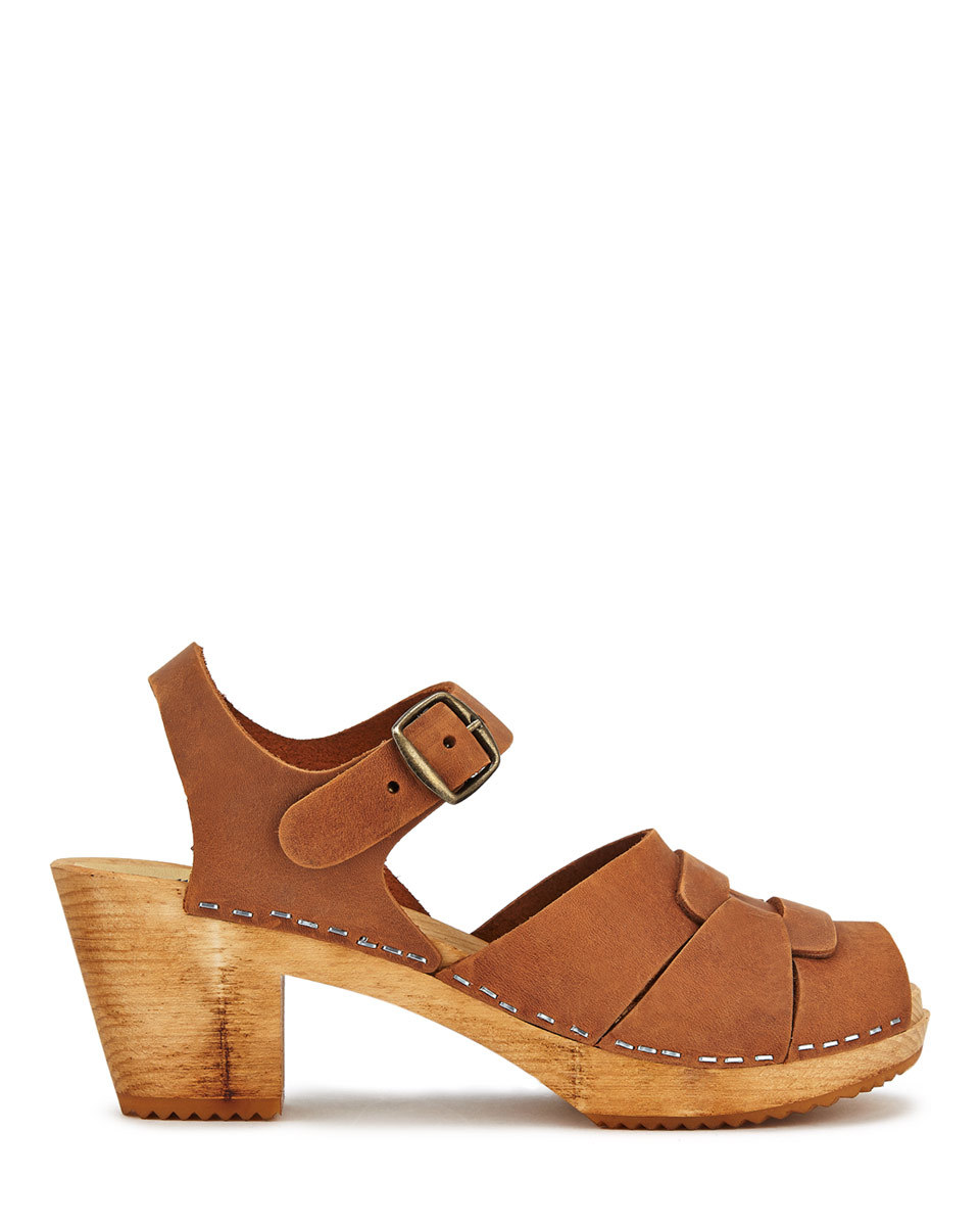 Moheda For Clog - predominant colour: tan; occasions: casual, creative work; material: leather; heel height: mid; embellishment: buckles; heel: block; toe: open toe/peeptoe; finish: plain; pattern: plain; shoe detail: platform; style: clogs; season: s/s 2016; wardrobe: highlight