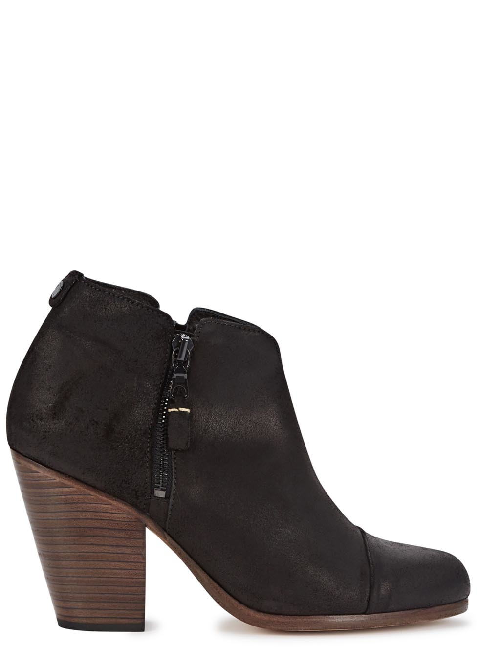 Margot Black Suede Ankle Boots Size - predominant colour: black; occasions: casual, creative work; material: suede; heel height: high; heel: block; toe: round toe; boot length: ankle boot; style: standard; finish: plain; pattern: plain; season: s/s 2016; wardrobe: highlight