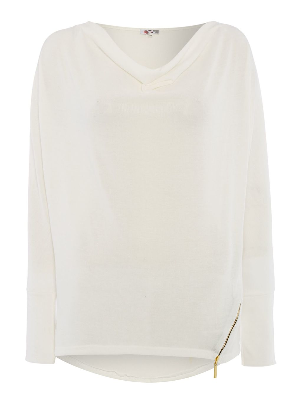 Long Sleeved Knit With Zip Detail, White - neckline: v-neck; pattern: plain; length: below the bottom; style: standard; predominant colour: white; occasions: casual, creative work; fibres: viscose/rayon - stretch; fit: loose; back detail: longer hem at back than at front; sleeve length: long sleeve; sleeve style: standard; texture group: knits/crochet; pattern type: knitted - fine stitch; season: s/s 2016; wardrobe: highlight; embellishment location: hip