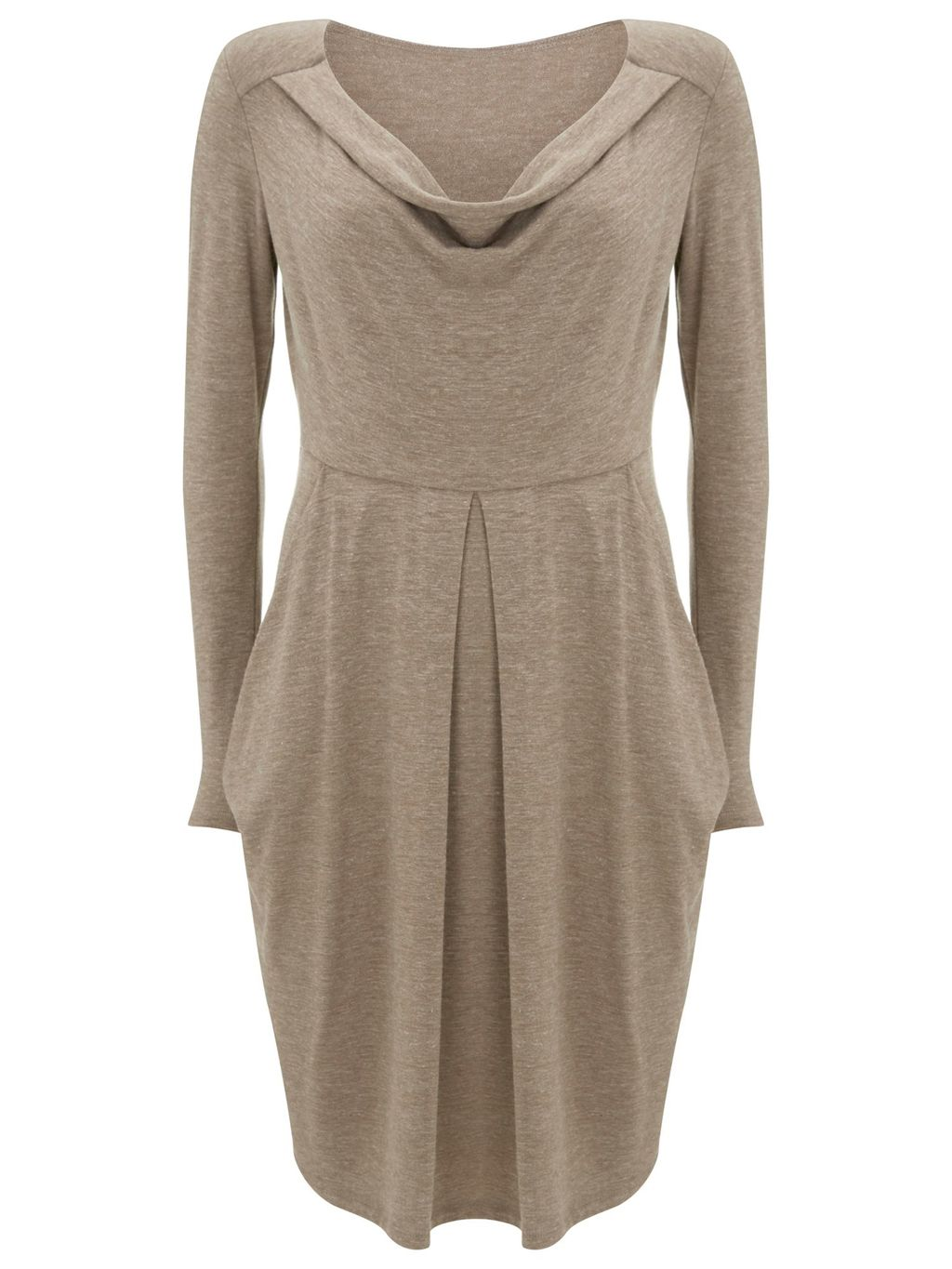 Hoxton Knitted Dress, Beige - style: jumper dress; neckline: cowl/draped neck; pattern: plain; predominant colour: stone; occasions: casual; length: just above the knee; fit: body skimming; fibres: polyester/polyamide - stretch; hip detail: structured pleats at hip; sleeve length: long sleeve; sleeve style: standard; pattern type: fabric; texture group: jersey - stretchy/drapey; season: s/s 2016; wardrobe: basic