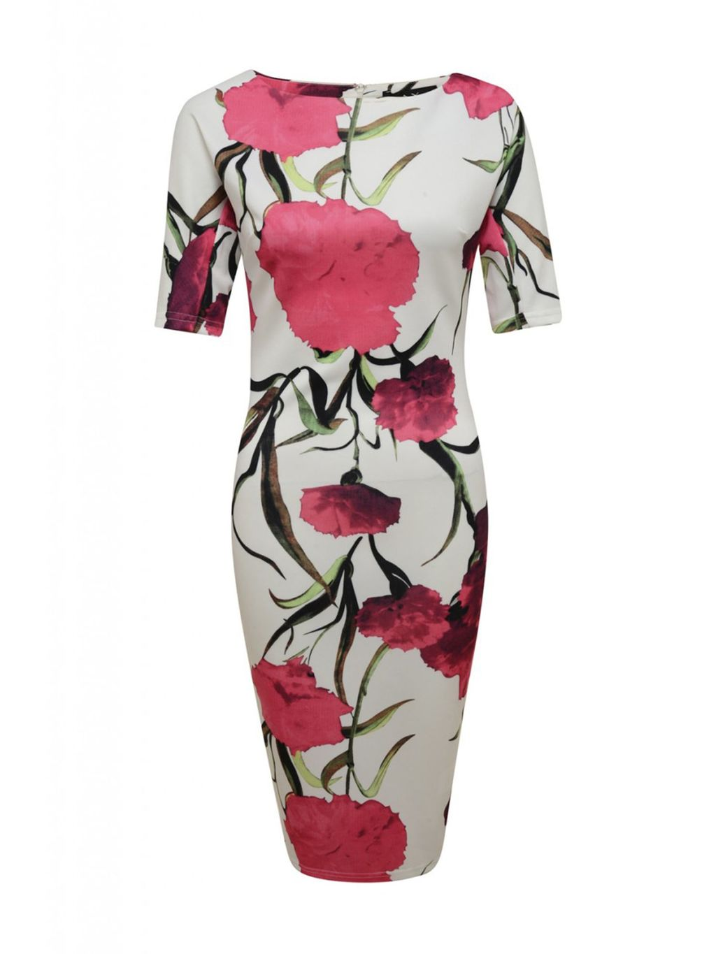 Short Sleeve Floral Midi Dress, Cream - style: shift; neckline: slash/boat neckline; secondary colour: hot pink; predominant colour: light grey; length: on the knee; fit: body skimming; fibres: polyester/polyamide - stretch; occasions: occasion; sleeve length: short sleeve; sleeve style: standard; pattern type: fabric; pattern size: big & busy; pattern: florals; texture group: jersey - stretchy/drapey; season: s/s 2016; wardrobe: event