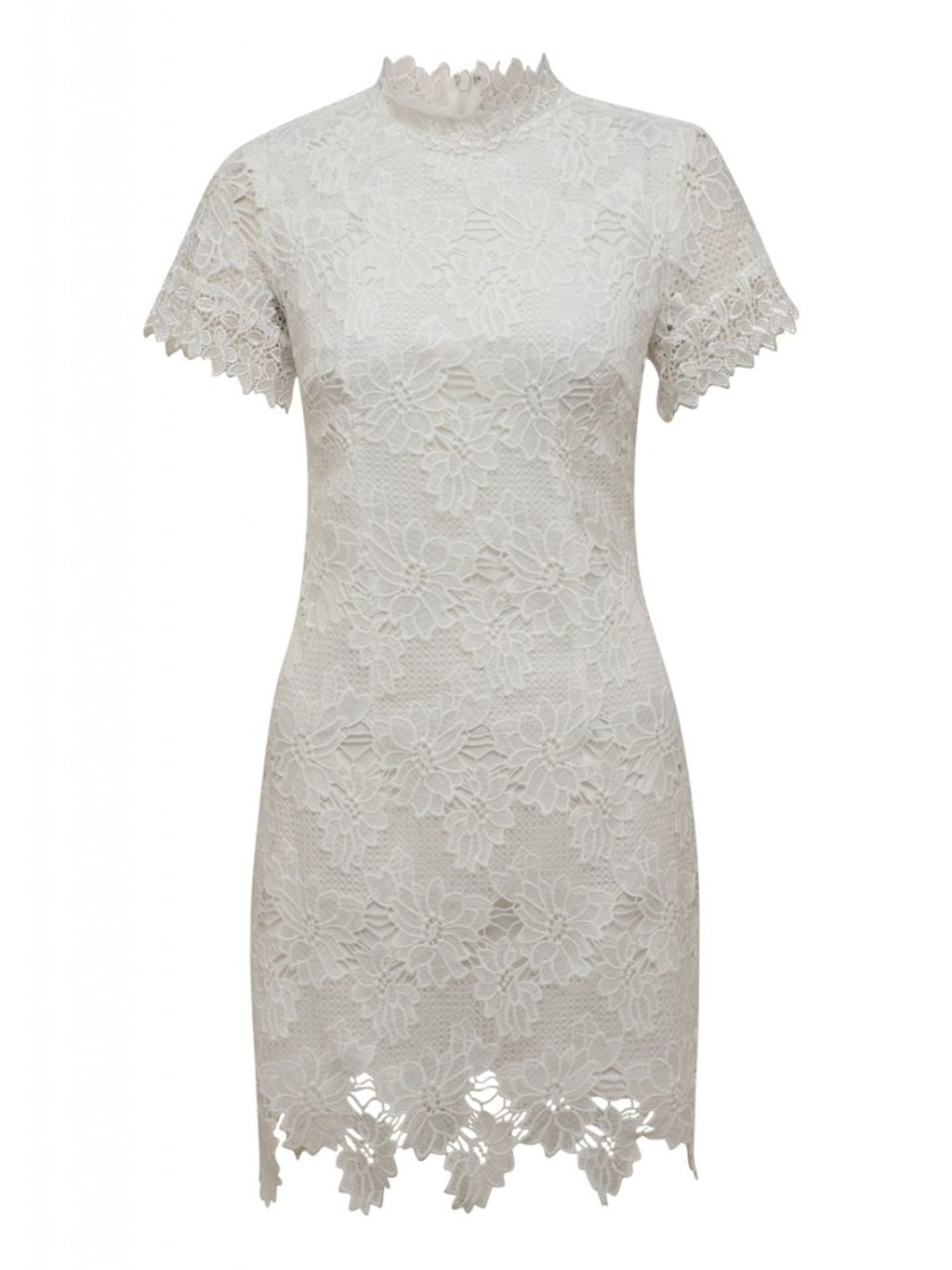 Short Sleeve Crochet Dress, Cream - style: shift; length: mid thigh; fit: tight; neckline: high neck; predominant colour: ivory/cream; occasions: evening; fibres: polyester/polyamide - 100%; sleeve length: short sleeve; sleeve style: standard; texture group: lace; pattern type: fabric; pattern size: standard; pattern: patterned/print; embellishment: lace; season: s/s 2016; wardrobe: event