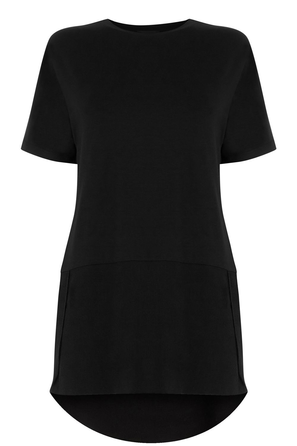 Woven Mix Short Sleeved Top, Black - neckline: round neck; pattern: plain; length: below the bottom; predominant colour: black; occasions: casual; style: top; fibres: polyester/polyamide - 100%; fit: body skimming; back detail: longer hem at back than at front; sleeve length: short sleeve; sleeve style: standard; pattern type: fabric; texture group: other - light to midweight; season: s/s 2016; wardrobe: basic