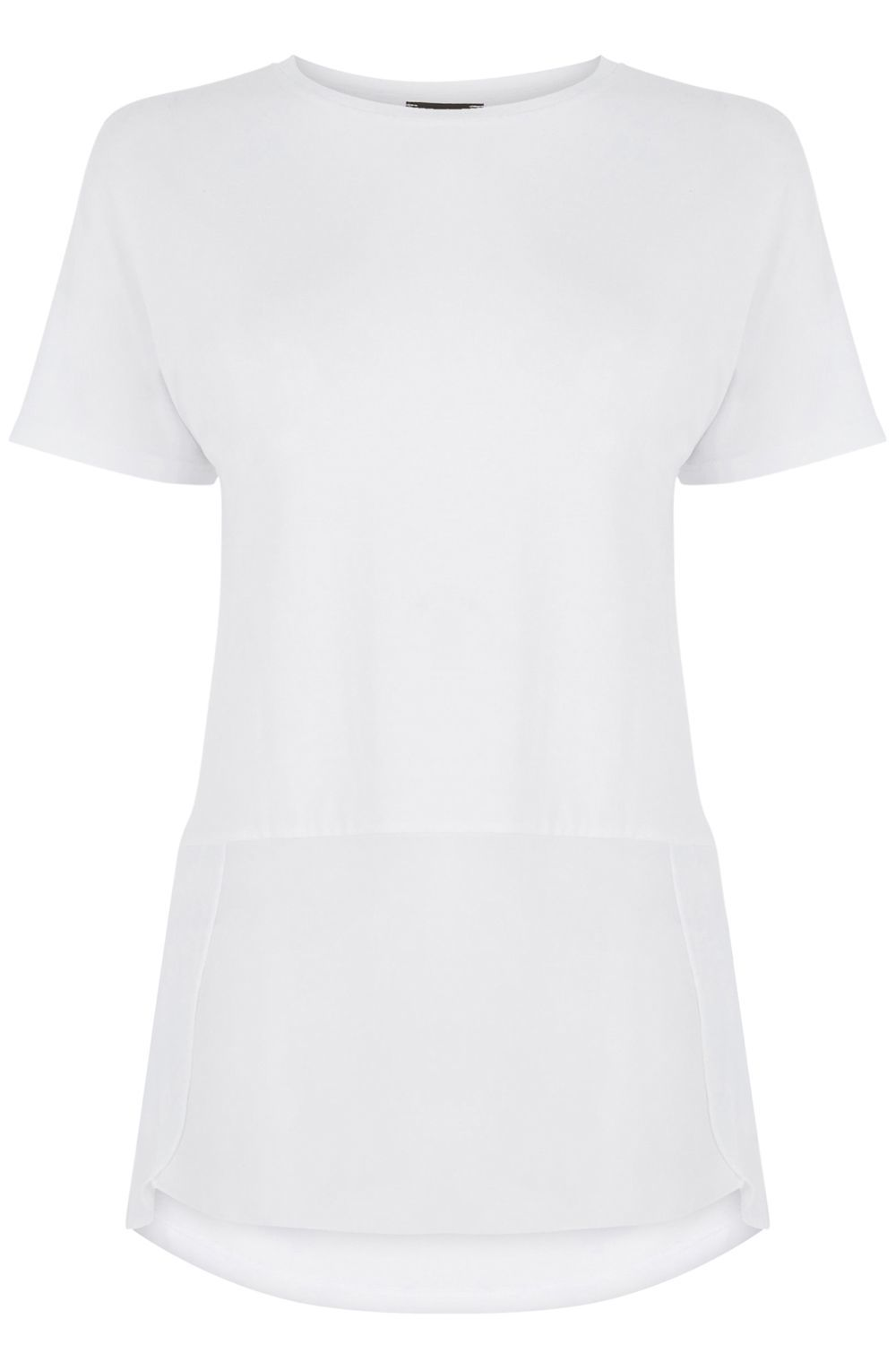Woven Mix Short Sleeved Top, White - neckline: round neck; pattern: plain; length: below the bottom; predominant colour: white; occasions: casual, creative work; style: top; fibres: polyester/polyamide - 100%; fit: body skimming; sleeve length: short sleeve; sleeve style: standard; pattern type: fabric; texture group: jersey - stretchy/drapey; season: s/s 2016