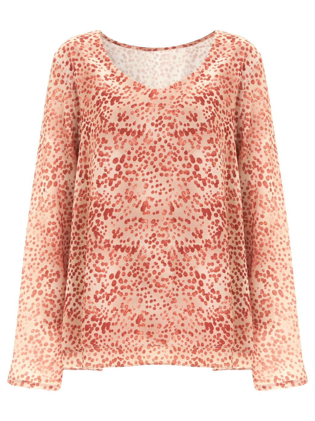 Shoreditch Printed Top, Orange - neckline: v-neck; predominant colour: bright orange; occasions: casual, creative work; length: standard; style: top; fibres: polyester/polyamide - stretch; fit: body skimming; sleeve length: long sleeve; sleeve style: standard; texture group: sheer fabrics/chiffon/organza etc.; pattern type: fabric; pattern: patterned/print; pattern size: big & busy (top); season: s/s 2016; wardrobe: highlight