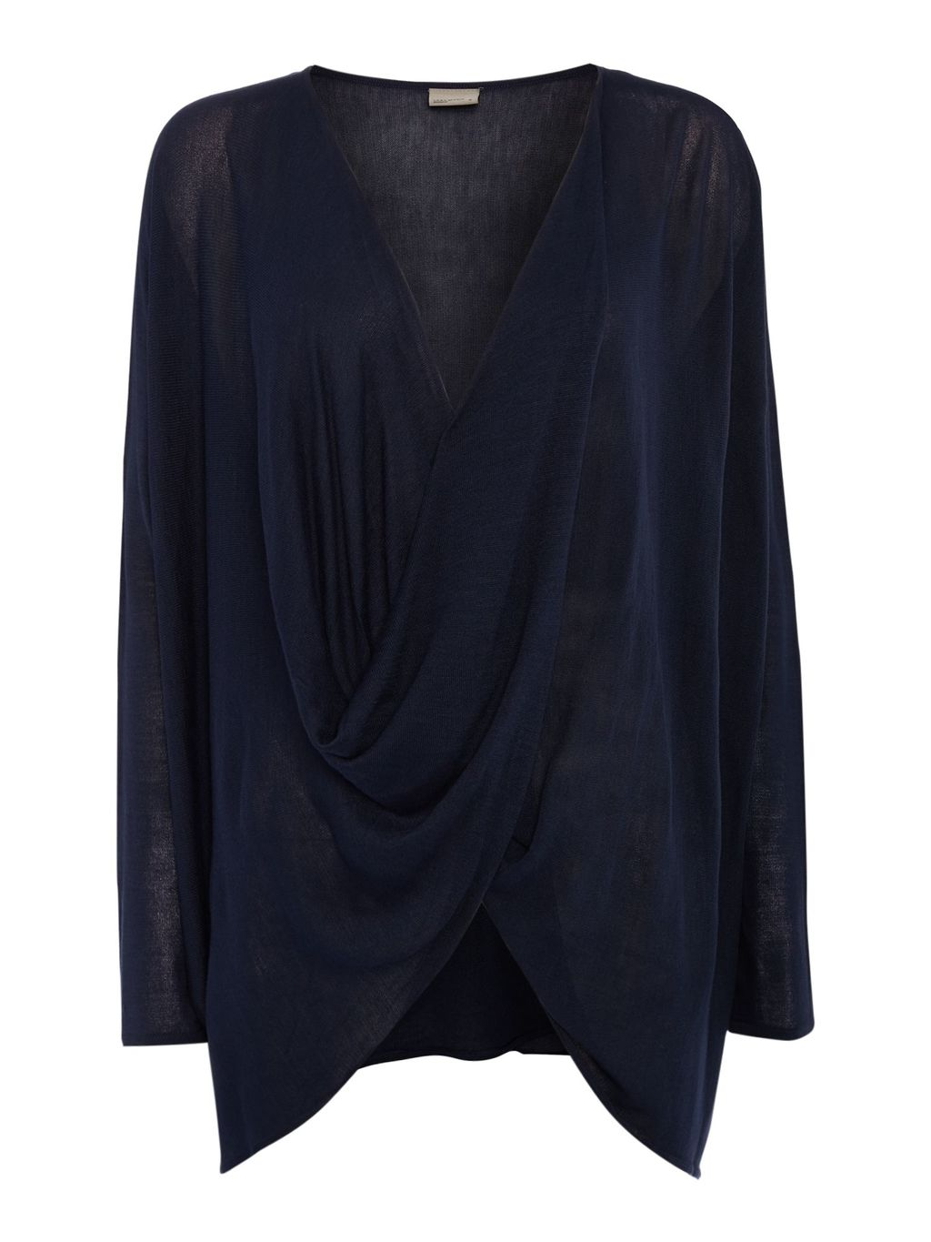 Long Sleeve Twist Blouse, Navy - neckline: low v-neck; pattern: plain; style: wrap/faux wrap; predominant colour: navy; occasions: casual; length: standard; fit: body skimming; sleeve length: long sleeve; sleeve style: standard; pattern type: fabric; texture group: jersey - stretchy/drapey; fibres: viscose/rayon - mix; season: s/s 2016; wardrobe: basic