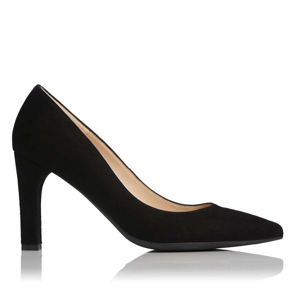 Tess Black Suede Courts - predominant colour: black; occasions: evening, work, occasion; material: suede; heel height: high; heel: block; toe: pointed toe; style: courts; finish: plain; pattern: plain; season: s/s 2016; wardrobe: investment