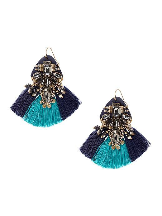 Mixed Media Drop Earring Navy - secondary colour: navy; predominant colour: turquoise; occasions: evening, occasion; style: drop; length: mid; size: large/oversized; material: chain/metal; fastening: pierced; finish: metallic; embellishment: tassels; season: s/s 2016; wardrobe: event