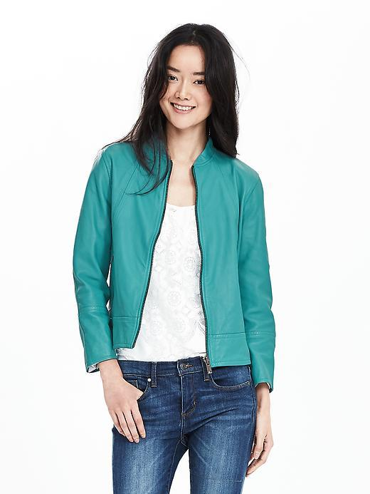 Blue Leather Bomber Jacket Magical Blue - pattern: plain; collar: round collar/collarless; style: bomber; predominant colour: teal; occasions: casual; length: standard; fit: straight cut (boxy); fibres: leather - 100%; sleeve length: long sleeve; sleeve style: standard; texture group: leather; collar break: high; pattern type: fabric; season: s/s 2016; wardrobe: highlight
