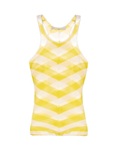 Checked Sheer Knit Tank Top - neckline: round neck; sleeve style: sleeveless; pattern: checked/gingham; secondary colour: ivory/cream; predominant colour: yellow; occasions: casual; length: standard; style: top; fibres: cotton - 100%; fit: tight; sleeve length: sleeveless; texture group: sheer fabrics/chiffon/organza etc.; pattern type: fabric; pattern size: light/subtle; multicoloured: multicoloured; season: s/s 2016; wardrobe: highlight